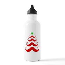 Merry Mustache! Red Water Bottle