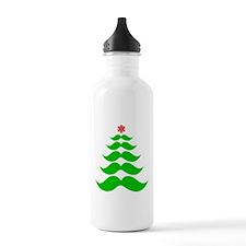 Merry Mustache! Green Water Bottle