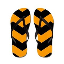 Black And Orange Chevron Flip Flops