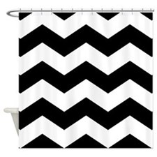 Black And White Chevron Shower Curtain