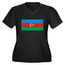 Azerbaijan Flag T Shirts Women's Plus Size V-Neck