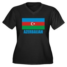Azerbaijan Flag Women's Plus Size V-Neck Dark T-Sh
