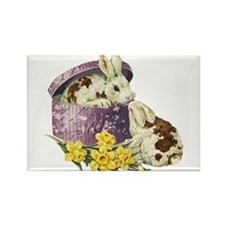 Easter Bunny Daffodils Rectangle Magnet (100 pack)