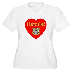 I Love You USCG Emblem & Heart Women's Plus Size V