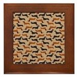 Framed Tile - Cute Dachshund Pattern Perfect Gift for Doxie Lover, Red, Yellow, Pink, Blue, Orange, Tan, Green, Garnet, Black, Grey