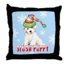 Holiday Bichon Throw Pillow