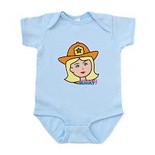 Firefighter Woman Head Light/Blonde Infant Bodysui