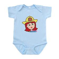 Firefighter Woman Head Light/Red Infant Bodysuit