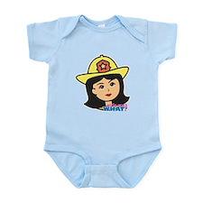 Firefighter Woman Head Medium Infant Bodysuit