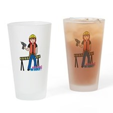 Construction Worker Woman Light/Red Drinking Glass