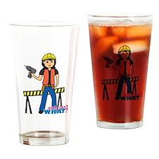 Construction Worker Woman Medium Drinking Glass