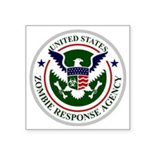 "US Zombie Response Agency Square Sticker 3"" x 3"""
