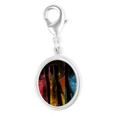 Striped Space Needle Silver Oval Charm