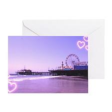 Purple Hearts Pier Greeting Card
