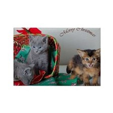 christmas card with kitties Rectangle Magnet
