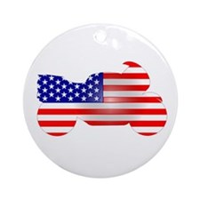 Red, White, & Blue Bike Ornament (Round)
