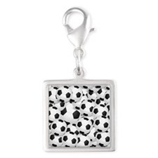 Soccer BAlls Silver Square Charm