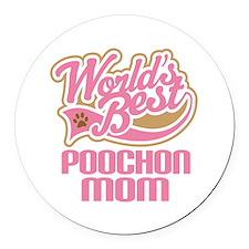 Poochon Dog Mom Round Car Magnet
