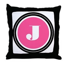 Pink J Monogram Throw Pillow