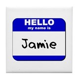 hello my name is jamie  Tile Coaster
