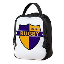 Rugby Shield Purple Gold Neoprene Lunch Bag