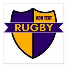 """Rugby Shield Purple Gold Square Car Magnet 3"""" x 3"""""""