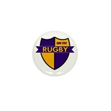Rugby Shield Purple Gold Mini Button (10 pack)