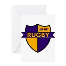Rugby Shield Purple Gold Greeting Card