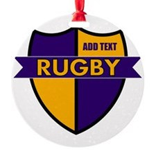 Rugby Shield Purple Gold Round Ornament