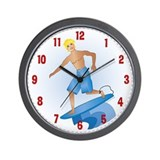 Surfer Man Blonde Wall Clock
