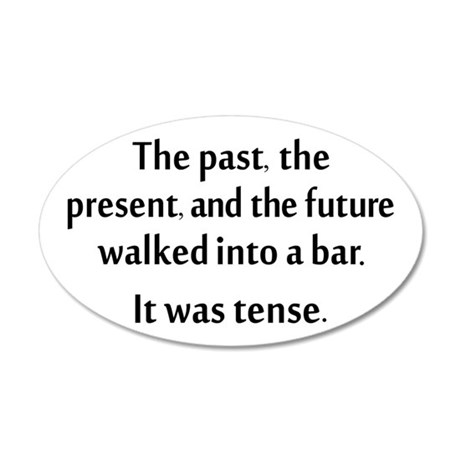 Grammar Joke 20x12 Oval Wall Decal