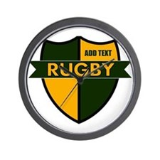 Rugby Shield Green Gold Wall Clock