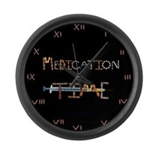 Medication Time Black Large Wall Clock