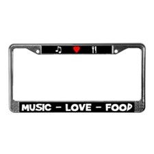 Music-Love-Food License Plate Frame