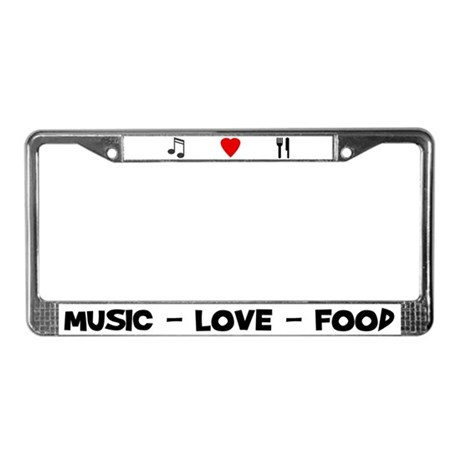 Music-Love-Food License Plate Frame