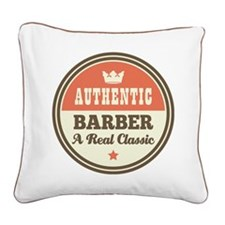 Barber Vintage Square Canvas Pillow