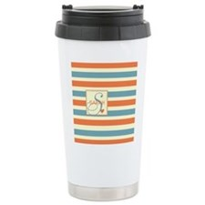 Mid-Tone Stripe Monogram - Personalized Travel Mug
