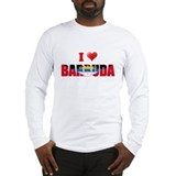 I love Barbuda Flag Long Sleeve T-Shirt