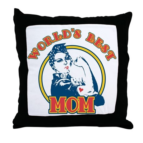Rosie Riveter Best Mom Throw Pillow