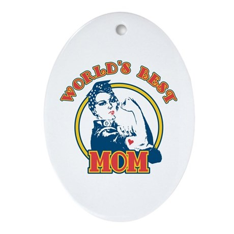 Rosie Riveter Best Mom Oval Ornament