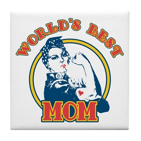 Rosie Riveter Best Mom Tile Coaster