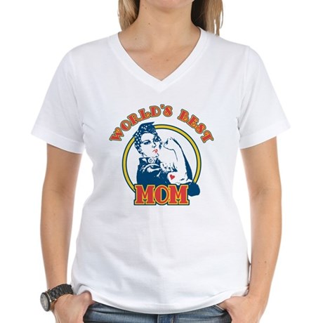 Rosie Riveter Best Mom Women's V-Neck T-Shirt