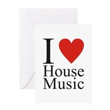 I Love House Music Greeting Cards