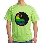 YIN YANG SYMBOL - RAINBOW Green T-Shirt