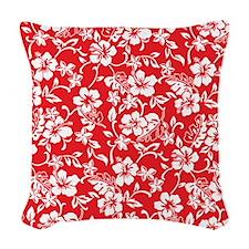 Retro Hawaiian Print Woven Throw Pillow