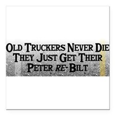 "Cute Truck driver Square Car Magnet 3"" x 3"""