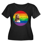 JESUS LOVE ME Women's Plus Size Scoop Neck Dark T-