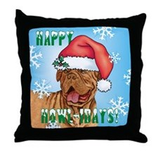 Holiday Dogue de Bordeaux Throw Pillow