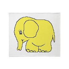 Funny cross-stitch yellow elephant Throw Blanket