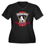 Brindle Bock Women's Plus Size V-Neck Dark T-Shirt